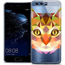 Coque Housse Etui Pour Huawei P10 Polygon Animal Souple Fin Chat