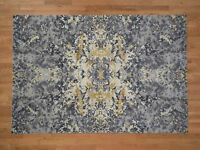 "6'1""x8'10"" Abstract Design Wool And Silk HandKnotted Oriental Rug G41795"