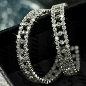925 Silver White Sapphire Crystal Large Hoop Earrings    235