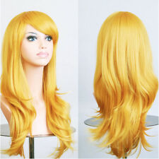 Halloween 80cm Synthetic Women Party Cosplay Wig Long Curly Black Brown Blonde