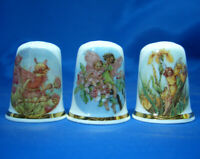 Birchcroft China Thimbles -- Set of Three -- Blue Sky Fairies