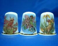 Birchcroft China Thimbles -- Set of Three -- Blue Sky Fairies