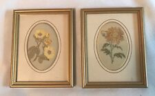 VINTAGE CASHS Silk Woven Pictures-Rose & Chrysanthemum-Framed-Md In England