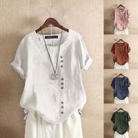 VO Womens Short Sleeve O Neck Cotton Linen Plain Tops Shirts Button Down Blouse