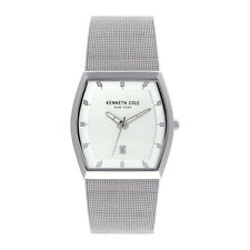 KENNETH COLE NY WHITE DIAL DATE MESH STAINLESS STEEL MEN'S WATCH KC50489005 NEW