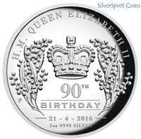 2016 QUEEN ELIZABETH 11 90th BIRTHDAY Silver 1oz Proof Coin