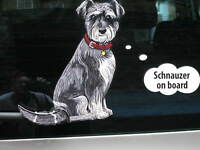 SCHNAUZER DOG STICKER WITH WIPER WAGGING TAIL FOR CAR REAR WINDSCREEN