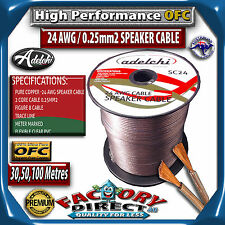 50M High Performance 24AWG 0.25mm2 100% Ultra Pure OFC Audio Cable Speaker Wire