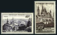 France 673-674, MNH. Observatory, Pic du Midi; Abbaye aux Hommes, Caen,1951
