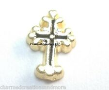 Gold Tone Black Accent Cross Floating Charm For Custom Memory Glass Lockets
