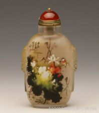 "3.61"" Nice Handmade Inside Painted ""Lotus & Bird #4"" Glass Snuff Bottle"