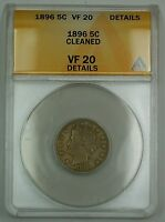 1896 Liberty V Nickel Coin 5c ANACS VF-20 Details Cleaned