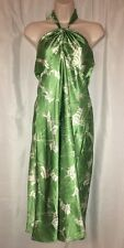Ann Taylor Loft Dress Sz 10 Silk Blend Green & White Floral Halter Dress