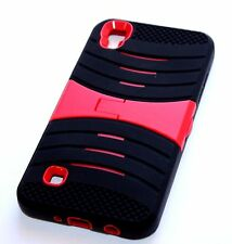 LG Tribute HD / Volt 3 / X Style - HARD & SOFT HYBRID CASE RED BLACK KICKSTAND