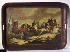Russian Tole Tray Napoleon 's Flight from Moscow Horse Cossacks 1840's Antique