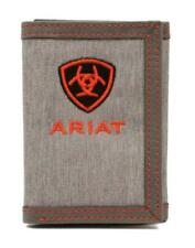 Ariat Western Mens Wallet Trifold Leather Cotton Embroidered Logo Grey A3542404
