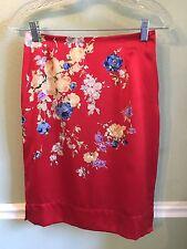 NKL Judy Lee Designer Red Floral Silk Skirt Size 6 Oriental French