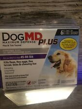 Dog Md Maximum Defense Plus Flea & Tick Treatment 6 Month supply 45-88 Lbs New