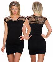 Minikleid Mini Kleid Cocktailkleid Lochmuster Party eng schwarz sexy S 32 34 36