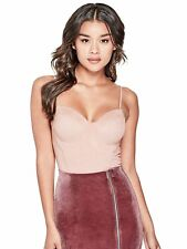 GUESS Womens Pink Mauve Stretch Faux Suede Bustier Camisole Top Size M NEW