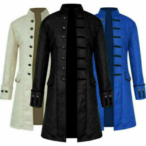 Men Black Jackets Steampunk Vintage Tailcoat Gothic Victorian Frock Cosplay Coat