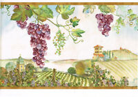 Tuscany Purple Grapes Vine Wine Vineyard Napa Valley Wallpaper Border