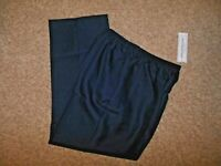 NWT Alfred Dunner Woman 14 Navy Blue Elastic Waist Pull On Poly Pants Pockets