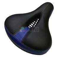 Dual-spring Bike Bicycle Wide Big Bum Soft Extra Comfort Blue Saddle Seat Pad UK