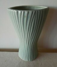 GREEN RIBBED ART POTTERY VASE SCHEURICH NO. 522-20 MADE IN GERMANY EX CD
