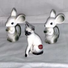 Vintage Brinns miniature Bone China Siamese cat and mouse mice