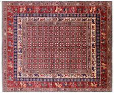 "Antiqued Pazyryk Historical Design Handmade Wool Rug 8' 0"" X 9' 7"" - Q7880"