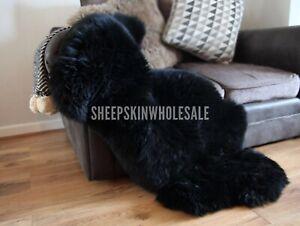 GENUINE RARE Black Velvet Sheepskin Rug Thick Real Wool 110-115 Cm