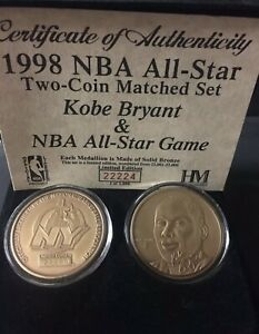 1998 NBA All Star Kobe Bryant Highland Mint Two Coin Set One Of 1000 Made Bronze