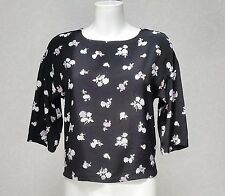 NEXT black Floral viscose 3/4 sleeve high crew neck Crop Cropped top blouse sz 6