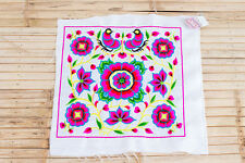 White Silk Worm Hmong Embroidered Fabric Hill Tribe Ethnic Fashion Thailand