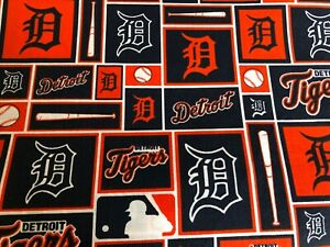 "NEW MLB COTTON Fabric FAT QTR 1/4yard=18""x22"" DETROIT TIGERS ORANGE ""D"" DIY MASK"