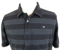 Travis Mathew XL Golf Polo Shirt Chevron Zig Zag Black Gray Cotton Blend HOLE