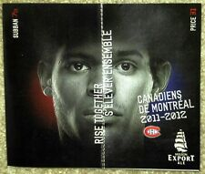 NHL MONTREAL CANADIANS 2011-12 POCKET SCHEDULE - MINT! FRENCH