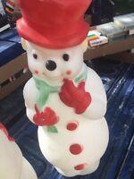 "Vtg Christmas Empire Blow Mold 1968 Snowman Wreath Cane Light 13"" Red Hat"