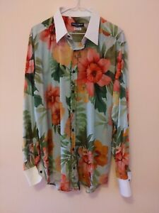 Dolce And Gabbana Mens Tailored Fit Floral Dress Shirt Sz 17/43