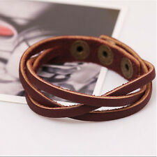 Leather Wrap Braided Wristband Cuff Punk Men Women Bracelet Bangle Multicolor