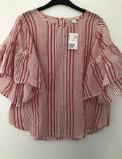 H&M SIZE 14 Red Striped Top With Exaggerated  Sleeves