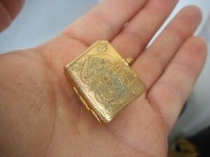 Vintage Miniature The Quran Islamic Book in Brass/ Metal Case