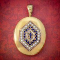 ANTIQUE VICTORIAN 18CT GOLD PEARL LOCKET BLUE ENAMEL CROSS CIRCA 1900 BOXED