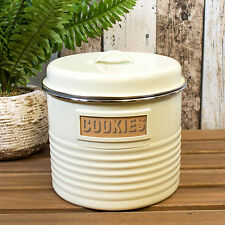 Typhoon Cream Retro Vintage Biscuit Jar Flour Tin Cookie Barrel Storage Canister