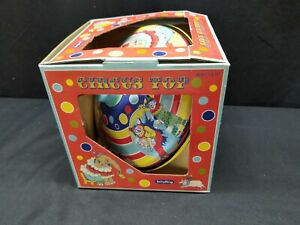 Vintage IN BOX Schylling Circus Tin Top Spinning Clowns Elephants Duck Dog Pig