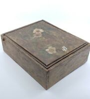 Antique or Vintage Hand Painted Flowers Wooden Box Vanity Mirror Large