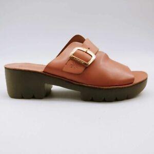 Fly London Womens Cozy Slide Sandals Pink Open Toe Block Heels EU 41