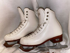 """New listing Riedell Model 25 Size 2 White Figure Skates With Jackson Aspire 8 1/2"""" Blades"""