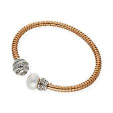 Brazalete Mujer Plata Rosa de Ley 925 Perlas Cultivadas Agua Dulce Circonitas